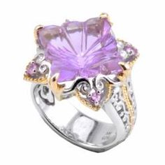 Amethyst and pink sapphire ringPalladium silver and 18-karat yellow gold vermeil  $154.99
