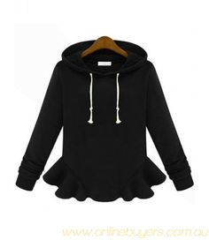 To find out about the Black Hooded Long Sleeve Ruffle Sweatshirt at SHEIN, part of our latest Sweatshirts ready to shop online today! Sweatshirts Online, Hoodies, Cool Style, My Style, Fall Winter Outfits, Fashion Outfits, Womens Fashion, Passion For Fashion, What To Wear