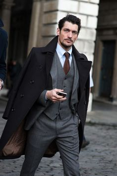 David is always stunning with his Overcoat + Suit Combination