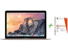 """Macbook Retina LED 12"""" Apple MK4M2BZ/A Dourado - OS X Yosemite + Pacote Office 365 Personal com as melhores condições você encontra no Magazine Krvariedades. Confira!"""