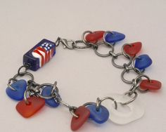 Red White Blue Bracelet Cultured Sea Glass Beads by BayMoonDesign