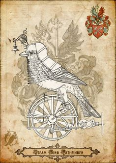 Steam Bird Pathfinder by DeerDandy on DeviantArt Steampunk Theme, Steampunk Design, Steampunk Fashion, Steampunk Kunst, Monocycle, Happy Bird Day, Glinda The Good Witch, Event Planning Design, Colorful Birds