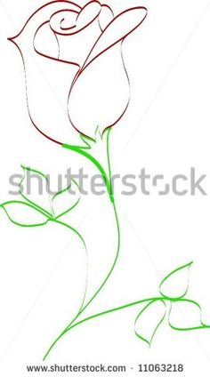 Simple line drawing of rose bud - stock vector