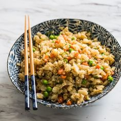 """100% Cauliflower """"fried rice"""" that's low fat & healthy without all the carbs of rice!"""