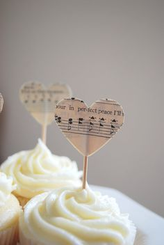 Vintage Music Heart Cupcake Picks made from by thePathLessTraveled