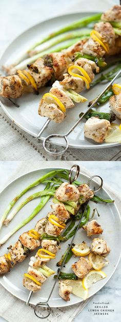 Grilled Lemon Chicken Skewers are flavored with garlic and lemon zest and so easy for dinner | foodiecrush.com