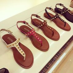 I will 100% be buying these for summer. Mk Sandals, Studded Sandals, Flat Sandals, Brown Sandals, Leather Sandals, Flat Shoes, Strap Sandals, Gladiator Sandals, Women's Shoes
