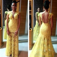 Yellow Lace Cap Sleeve Mermaid 2014 Free Shipping Weddings & Events Dresses Hot Sale $139.99