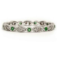 GREEN EMERALD DIAMOND WEDDING BAND 14K WHITE GOLD VINTAGE STYLE COCKTAIL RING