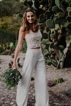 2019 Latest Two Pieces Bohemian Pantsuit Wedding Dresses Beaded See-through . - 2019 newest two pieces bohemian pant suit wedding dresses beaded see-through country style beach br - Country Wedding Dresses, New Wedding Dresses, Wedding Country, Bride Dresses, Two Piece Wedding Dress, Vestidos Vintage, Vintage Dresses, Custom Dresses, Casual Braut