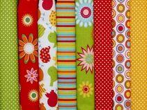 Stoffpaket -Rot-Gelb-Grün-8 Stoffe ( 20 cm x 30 cm ) für 6,50 €