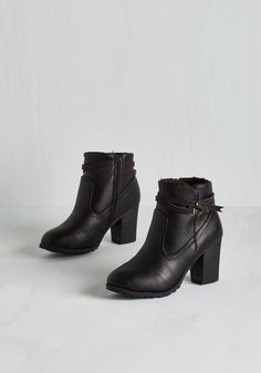 Oregon Trailblazer Bootie in Black. From the parks and pubs of Portland to the sights of Salem, these vegan faux-leather booties pave the way to a memorable escape! #black #modcloth