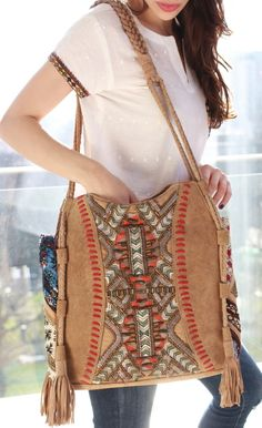 Our Inka suede bag comes in a beautiful camel suede fabric, with intricate embroidery detailing, all handmade by artisans. Boho Gypsy, Bohemian Style, Suede Fabric, Dandy, Camel, Artisan, Celebrities, Bags, Shopping