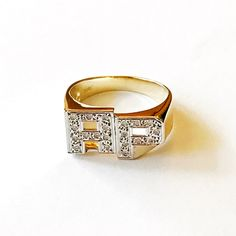 14K Gold Diamond Two-Initial Ring
