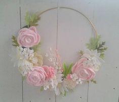 Felt Flower Wreath // Romantic Flowers Wreath // Modern Gold Hoop Wreath // Pink Felt Flower Wreath // Pink Fleece and Felt Wreath