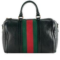 a2cd9e85440f Gucci Leather  Vintage Web  Medium Boston Handbag Gucci Handbags