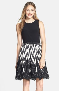 Eliza J Mixed Media Fit & Flare Dress available at #Nordstrom