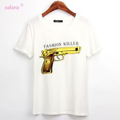 2016 Summer cool t shirt women FASHION KILLER printed t-shirt short sleeve cotton casual plus size punk women woman tops