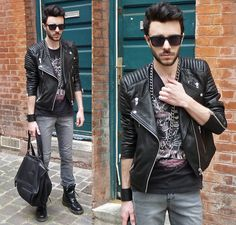 H Sunglasses, Chain, H Leather Jacket, Dr. Martens Boots, Givenchy Pandora Bag, The Kooples Skulls Rock Top, H Skinny Pants