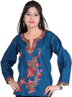 Stargazer-Blue Kurti from Kashmir with Ari Embroidered Flowers by Hand