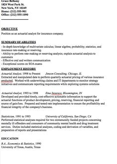 in post this time we will give a example about sample of actuarial analyst resume sample that will give you ideas and provide a reference for your own