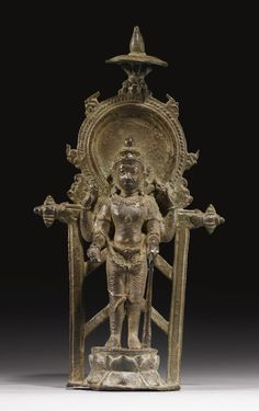 Vishnu Copper alloy Eastern India, Pala period height 8 in. Bronze Sculpture, Sculpture Art, Sculptures, Indian Gods, Indian Art, Hindu Statues, Tibetan Art, Fine Art Auctions, Hindu Art