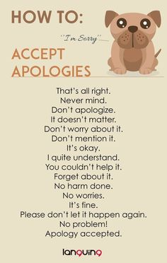 How to: Accept Apologies in English? You can learn the variations of the use of language English Learning Spoken, Learn English Grammar, English Writing Skills, English Idioms, English Language Learning, English Phrases, Learn English Words, English Study, English Lessons