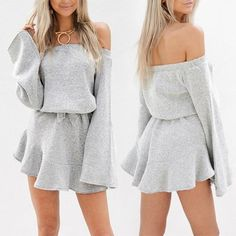 Shirring Off Shoulder Tied Waist Pleated Mini Dress