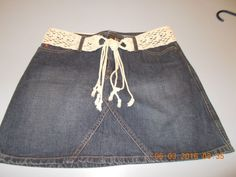 MUDD JEANS Women's Size 7  Denim Jean Mini Skirt With Belt  #Mudd #Mini
