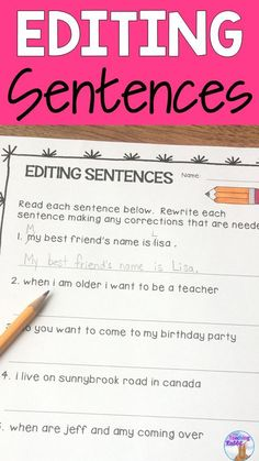 If your students are struggling with writing using proper sentence structure, editing sentences daily is a good place to start. Here are some simple ideas about how to get your students using proper punctuation and capitalization in no time! Kindergarten Writing, Teaching Writing, Writing Activities, Teaching Resources, Teaching Ideas, Grammar Activities, Teaching Strategies, Writing Lessons, Writing Skills