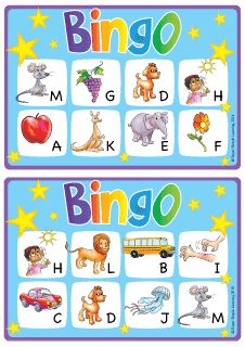 Practice uppercase letters A-M and phonics vocabulary with this simple BINGO game from Super Simple Learning. #kindergarten #earlyelementary #ESL