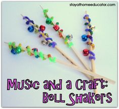 cute!  could wrap the pipe cleaners with jingle bells around popsicle sticks instead of chopsicks, so that they aren't so pokey and dangerous with our little dancers