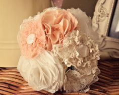 Fabric bouquet Fabric Bouquet, Fabric Flowers, Wedding Fabric, Wedding Bouquets, Wedding Ideas, Homemade, Flowers, Wedding Brooch Bouquets, Home Made