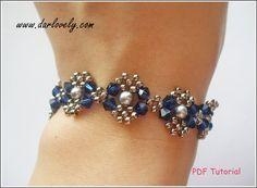 Beaded Bracelet Pattern Blue Silver Pearl Metal by darlovely