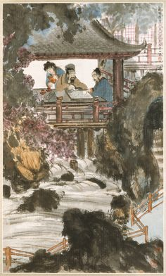 Playing Weiqi at the Water Pavilion  Fu Baoshi (傅抱石, 1904-1965)    Hanging scroll, ink and color on Korean paper, 127.3 x 75.6 cm, The Metropolitan Museum of Art, New York