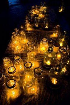 mason jars with tea lights! Oh my, do I love mason jars! Diy Wedding, Dream Wedding, Wedding Ideas, Circus Wedding, Wedding Inspiration, Inspiration Boards, Wedding Blog, Fall Wedding, Wedding Reception