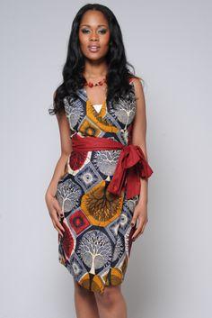 African Print Dress, Wrap with Sash Belt