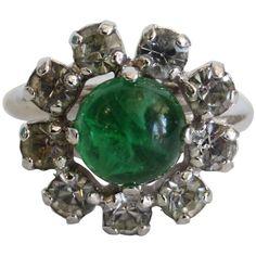 1960s Christian Dior Diamanté And Emerald Cocktail Ring  | 1stdibs.com