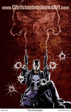 "$30 ""The Punisher"" The print depicts the Punisher with the smoke from his guns rising to create the Punisher logo. #Punisher #ThePunisher #Marvel"
