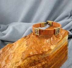 10mm Flat Cork Bracelet with Antique Gold Sliders