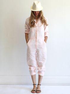 Pale pink soft summer jumpsuit.