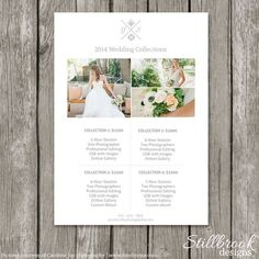 Photographer Price List Template - Photography Pricing Sheet for Wedding Sessions - Wedding Collections Guide: