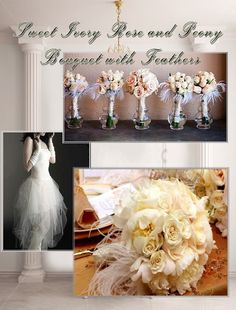 Sweet Ivory Rose and Peony Bouquet with Feathers by whiteriver51, $299.00