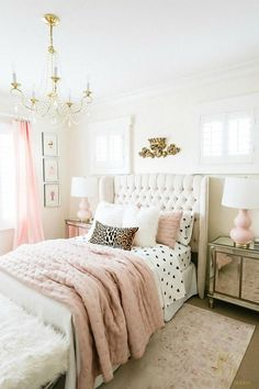 stylish tween girl bedroom pink gold bedroom # Tween Girls Bedroom B Pink Gold Bedroom, Pink Bedroom For Girls, Teen Girl Bedrooms, Small Room Bedroom, Room Ideas Bedroom, Trendy Bedroom, Modern Bedroom, Bedroom Decor, Small Rooms