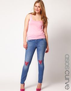 Enlarge ASOS CURVE Skinny Jeans With Hearts