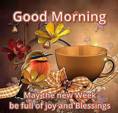 Good Morning, May the new Week be full of joy and blessings.