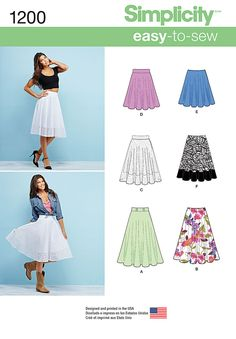 Simplicity Creative Group - Misses' 3/4 Circle Skirt with Length Variations