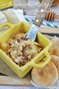Honey Pecan Baked Brie Dip with Pie Crust Dippers @Something Swanky
