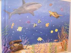 Under the sea bedroom wall mural - www.custommurals.co.uk underwater shark turtle fish