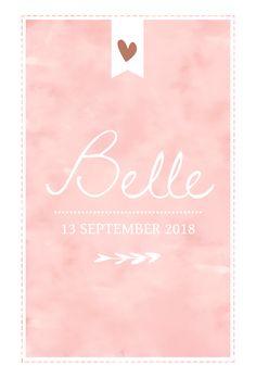 Lief geboortekaartje voor meisje met roze watercolour en hartjes.